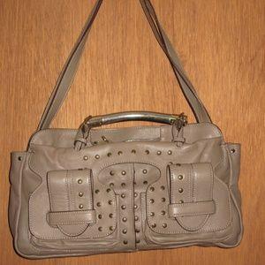 CHLOE Saskia Leather Studded Satchel Purse
